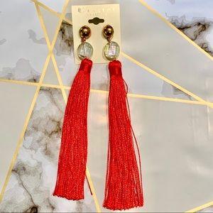 Jewelry - Tassel fringe earrings with rhinestones red